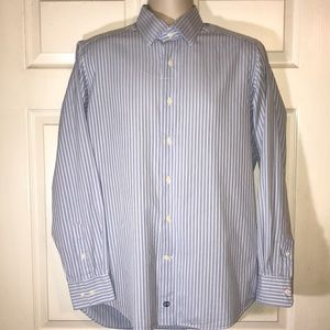 david donahue men's sz 16 blue & white dress shirt